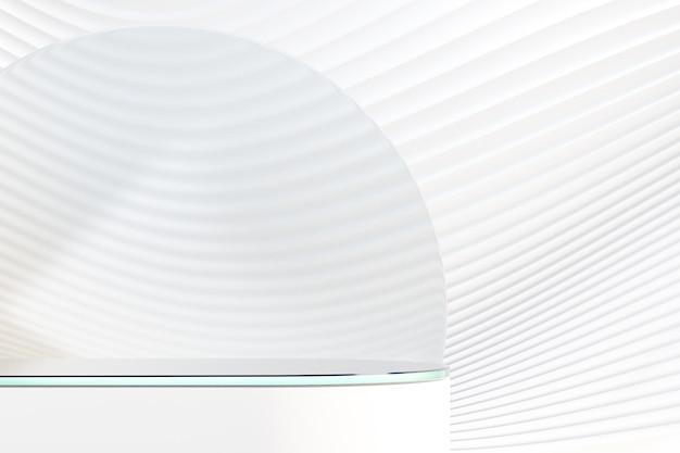 Podio rotondo bianco 3d con vetro sulla parete bianca dell'onda della curva. rendering dell'illustrazione 3d.