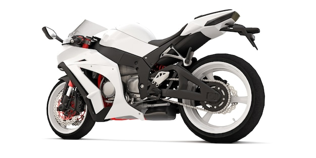 Moto super sportiva bianca 3d su superficie isolata bianca