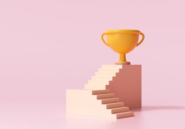 Coppa del vincitore 3d sulla scala superiore il concetto di successo aziendale 3d rende l'illustrazione