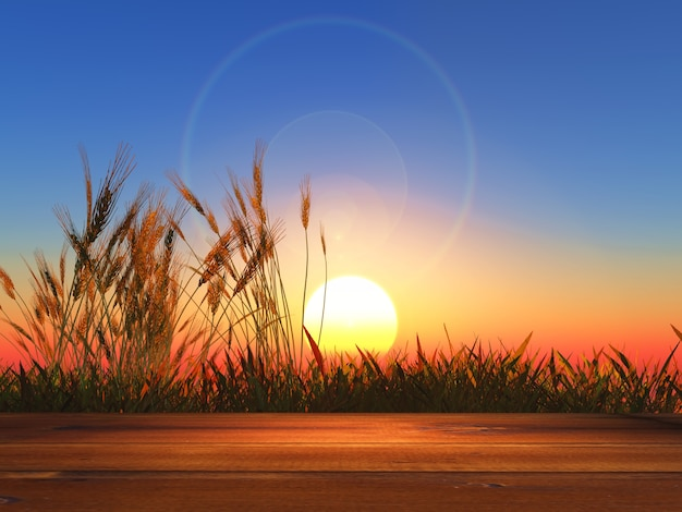 Tavola di legno 3d che guarda fuori al grano al tramonto
