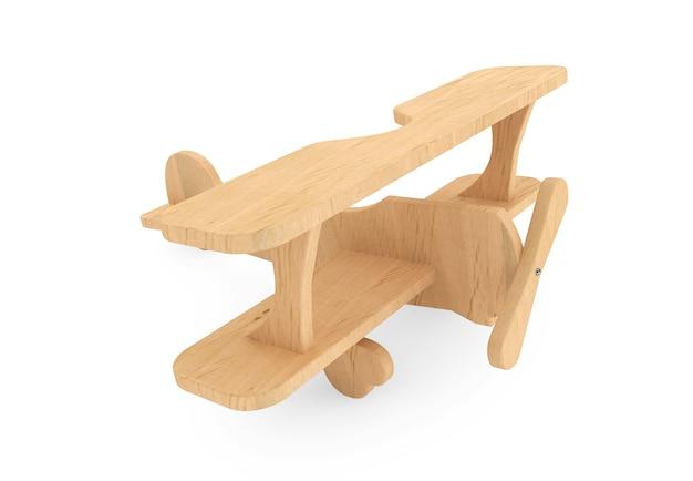Aeroplano giocattolo in legno 3d su sfondo bianco