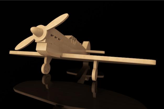 Aeroplano giocattolo in legno 3d su sfondo nero
