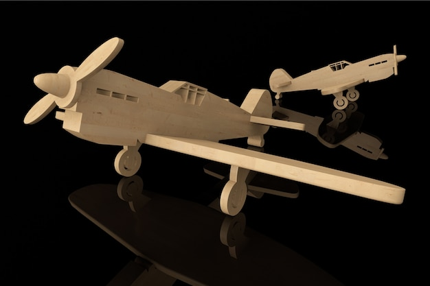 Aeroplani giocattolo in legno 3d su sfondo nero