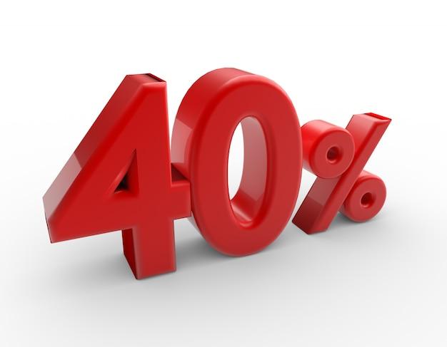 Parola 3d 40 per cento isolata su bianco