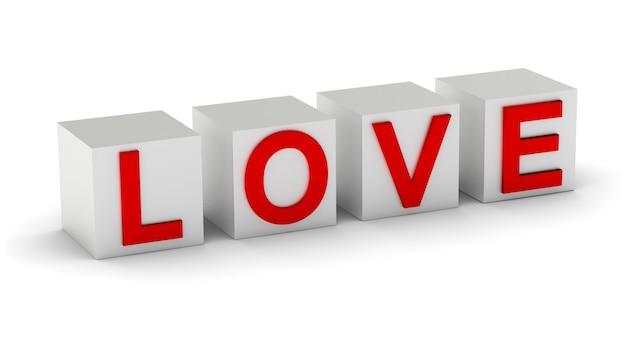 3d parola amore sui cubi isolati su sfondo bianco con ombra