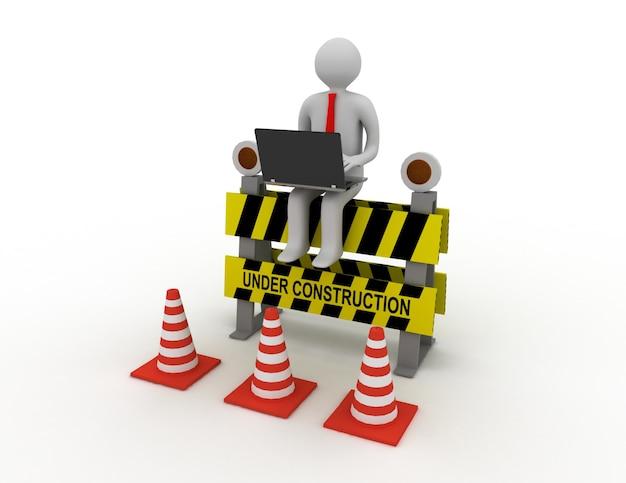 Il lavoratore 3d con il computer portatile è seduto su un cartello in costruzione. illustrazione resa