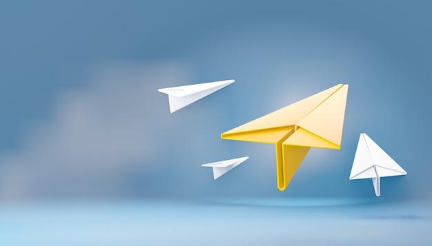 Aereo di carta giallo 3d con aereo di carta bianco su sfondo blu cielo. rendering dell'illustrazione 3d.