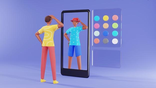 3d giovane uomo in piedi davanti allo smartphone e utilizzando l'app fotocamera ar per il concetto di cambiamento di vestito.