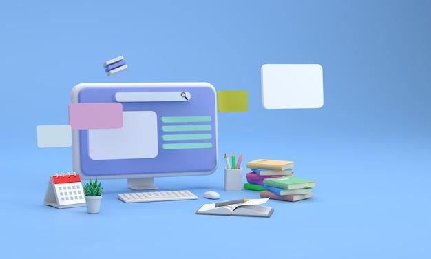 3dschermo del computer che mostra la ricerca dell'apprendimento con pile di libri e matite apprendimento accademico
