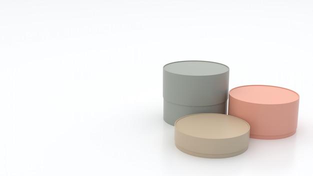 3 ° scatole cilindriche di varie dimensioni, colori pastello sul pavimento e sfondo bianco, semi-lucide, con riflessi, concetti, confezione regalo, rendering 3d