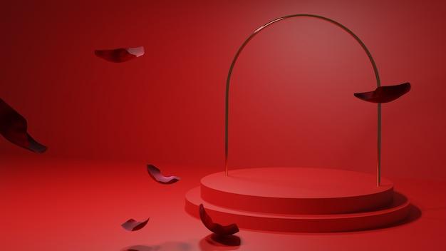 3 podio rosso con petali di rosa fluttuanti