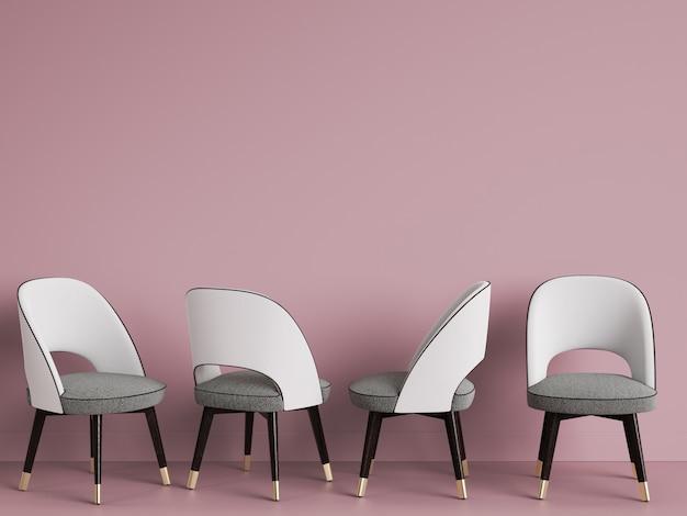 4 sedie bianche nella stanza rosa con lo spazio della copia. rendering 3d
