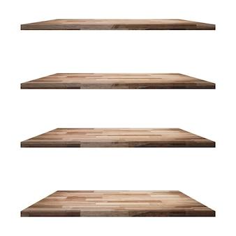 4 ripiani in legno da tavolo isolati, montaggio display per prodotto.