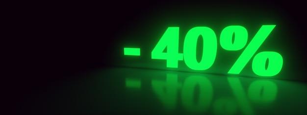 40 promozione di vendita di sconto off neon