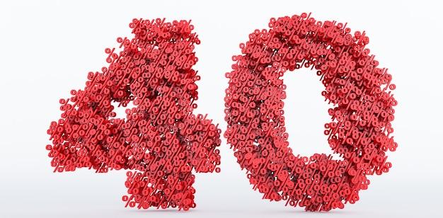40% di sconto sul prezzo isolato su sfondo bianco. rendering 3d del simbolo di sconto del 40%, 40%