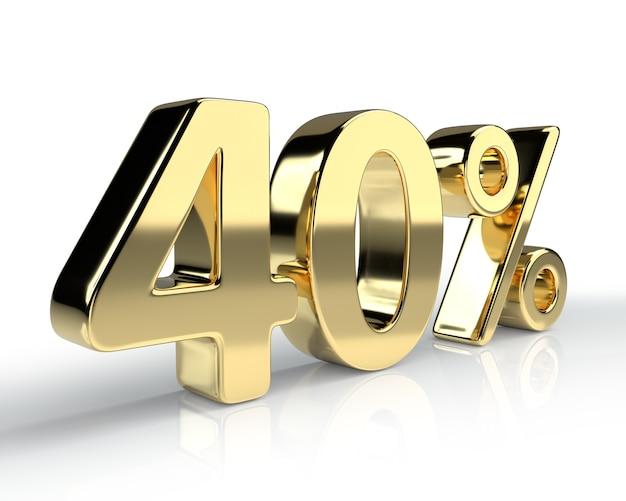 40 per cento simbolo blu isolato su sfondo bianco. rendering 3d