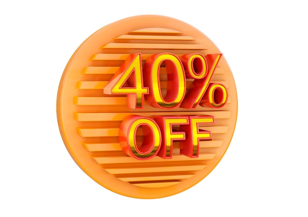 40 percento di sconto isolato su superficie bianca, timbro promozionale per applicazione in banner, etichette e tag.