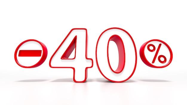 Simbolo rosso del 40 percento isolato su priorità bassa bianca. rendering 3d