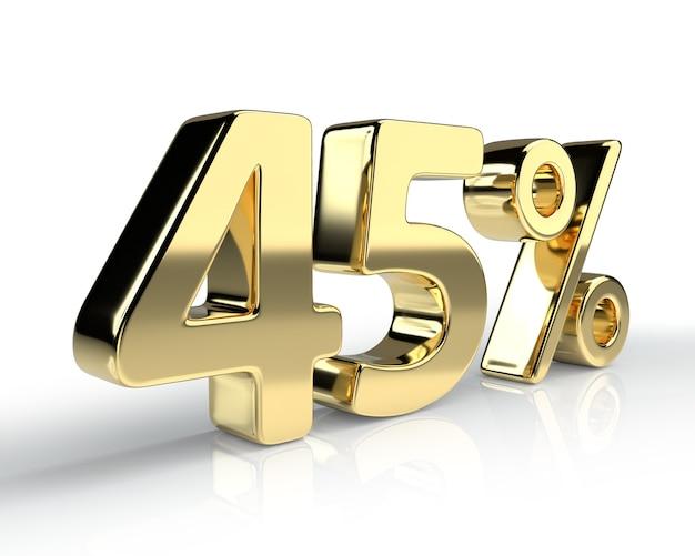 45 per cento simbolo blu isolato su sfondo bianco. rendering 3d