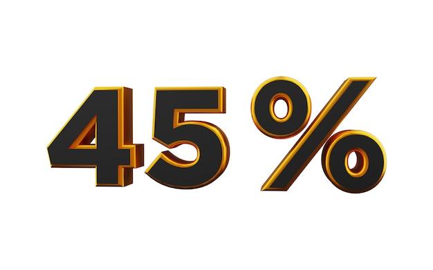 Illustrazione 3d dorata del 45 percento. 3d golden quarantacinque per cento illustrazione dei caratteri.