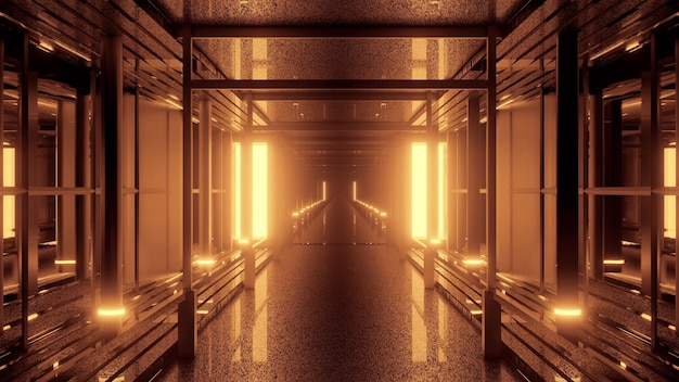 Illustrazione 3d 4k uhd del corridoio moderno simmetrico illuminato con vivaci lampade al neon arancioni