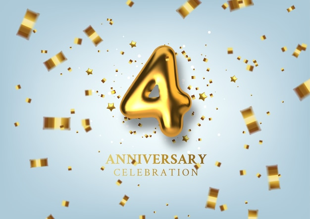 Numero di celebrazione del 4 ° anniversario sotto forma di palloncini dorati.