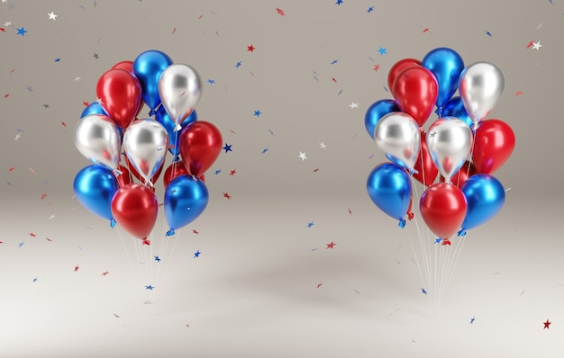 Festa del 4 luglio. palloncini con stelle cadenti nell'illustrazione 3d