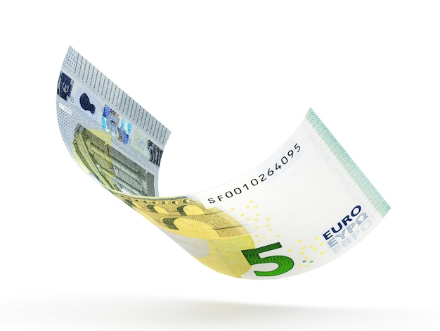 Banconota da 5 euro arricciata