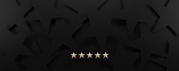 5 stelle d'oro su sfondo nero stellato, lusso e concetto di valutazione.