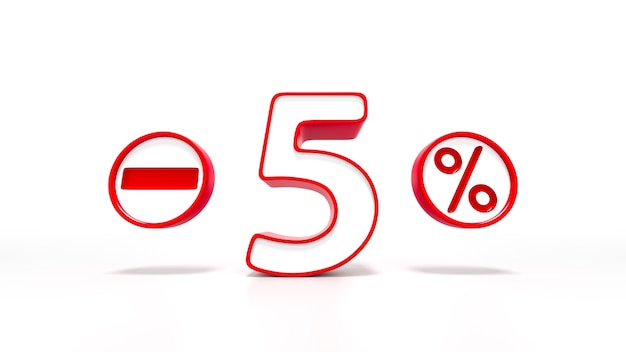 Simbolo rosso del 5 percento isolato su priorità bassa bianca. rendering 3d