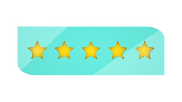 Valutazione di 5 stelle su sfondo bianco recensione del cliente classificazione dorata isolata a cinque stelle 3d render