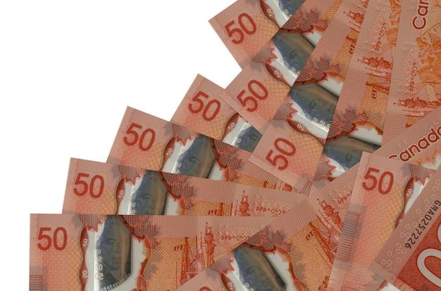 50 dollari canadesi fatture si trovano in un ordine diverso isolato su bianco. attività bancarie locali o concetto di fare soldi.