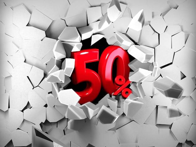 Idea di venerdì nero di vendita del cinquanta per cento nel rendering 3d