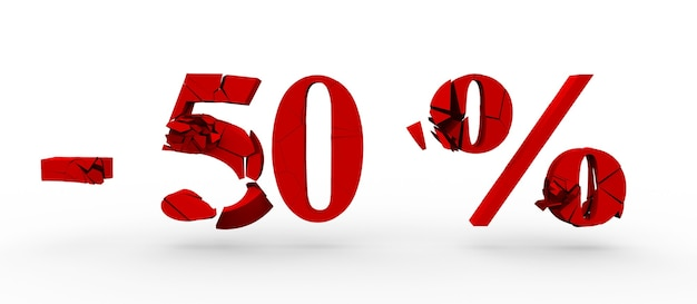 50% di sconto sulla parola 3d rendering 3d isolato