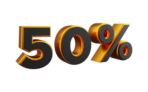Illustrazione del numero 3d dorato del 50 percento. illustrazione dorata del cinquanta per cento 3d.