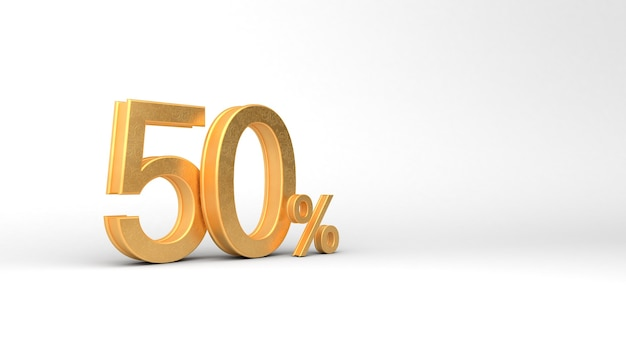 50 per cento di sconto vendita. numeri aurei con percentuale. progettazione del modello di promozione. rendering 3d, 3d, illustrazione 3d.