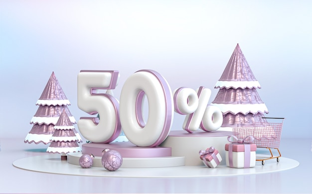 50 percento di sconto per l'offerta speciale invernale sfondo per il rendering 3d del poster promozionale dei social media