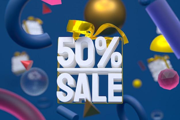50% di vendita con fiocco e nastro 3d design su sfondo di geometria astratta