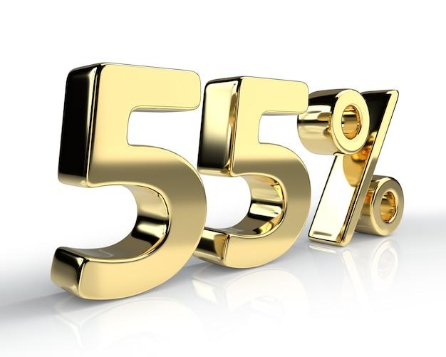 55 per cento simbolo blu isolato su sfondo bianco. rendering 3d