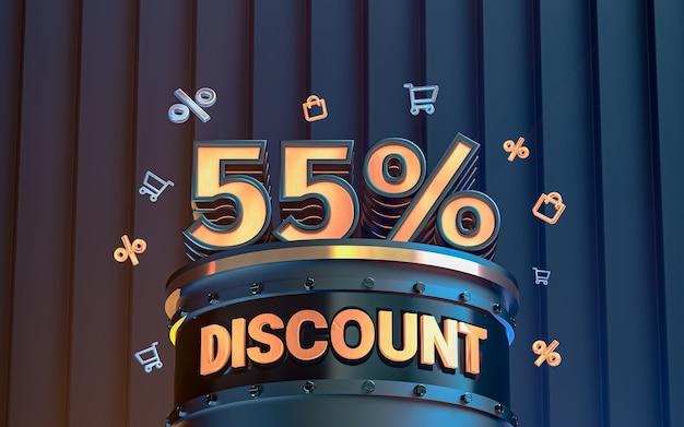 55 percento di sconto offerta speciale sfondo per social media poster promozionale 3d rendering