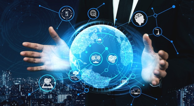 Tecnologia di comunicazione 5g rete internet wireless per la crescita del business globale, social media, e-commerce digitale e intrattenimento per uso domestico. Foto Premium