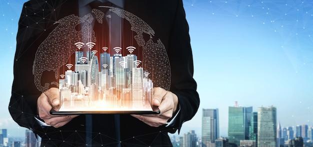 Tecnologia di comunicazione 5g rete internet wireless per la crescita del business globale, social media