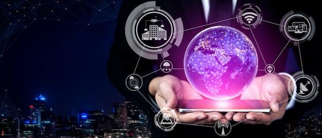 Tecnologia di comunicazione 5g rete internet wireless per la crescita del business globale