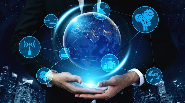 Tecnologia di comunicazione 5g rete internet wireless per il business globale