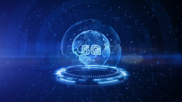 Design digitale 5g con sfondo blu