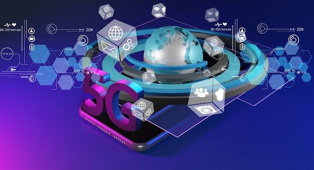 Concetto di rete 5g, internet ad alta velocità, tecnologia wireless di rete, rendering 3d