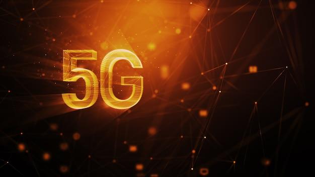 Fondo astratto di tecnologia 5g, con particelle di illuminazione sfocate e linea di connessione, per il concetto di comunicazione e tecnologia futuristica cyber
