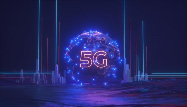 Rete wireless 5g con l'illustrazione globale della rappresentazione di concetto 3d del collegamento e della mappa