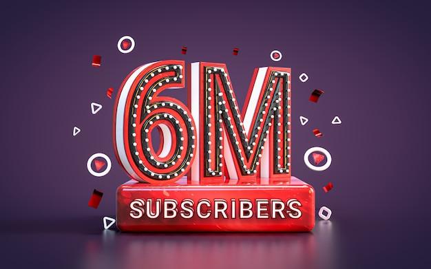 6 milioni di abbonati seguaci celebrazione rendering 3d sfondo della carta di congratulazioni dei social media
