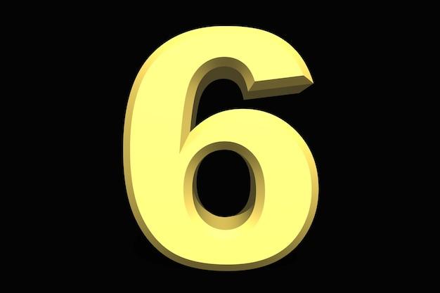 6 sei numero 3d blu su sfondo scuro